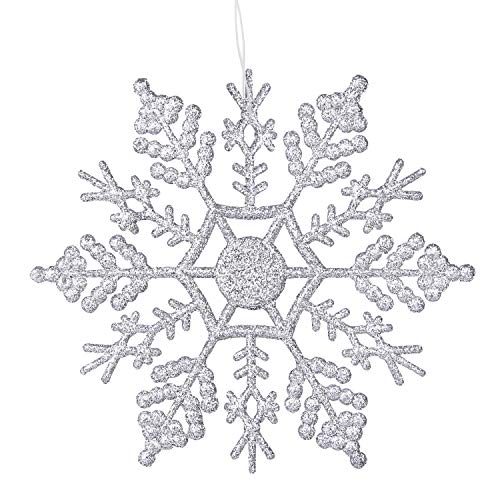 (DegGod 12 Pcs Silver Glitter Snowflake, Plastic Christmas Hanging Glitter Snowflakes String Garland for Xmas Tree Wedding Party Decorations Ornaments (Silver,)
