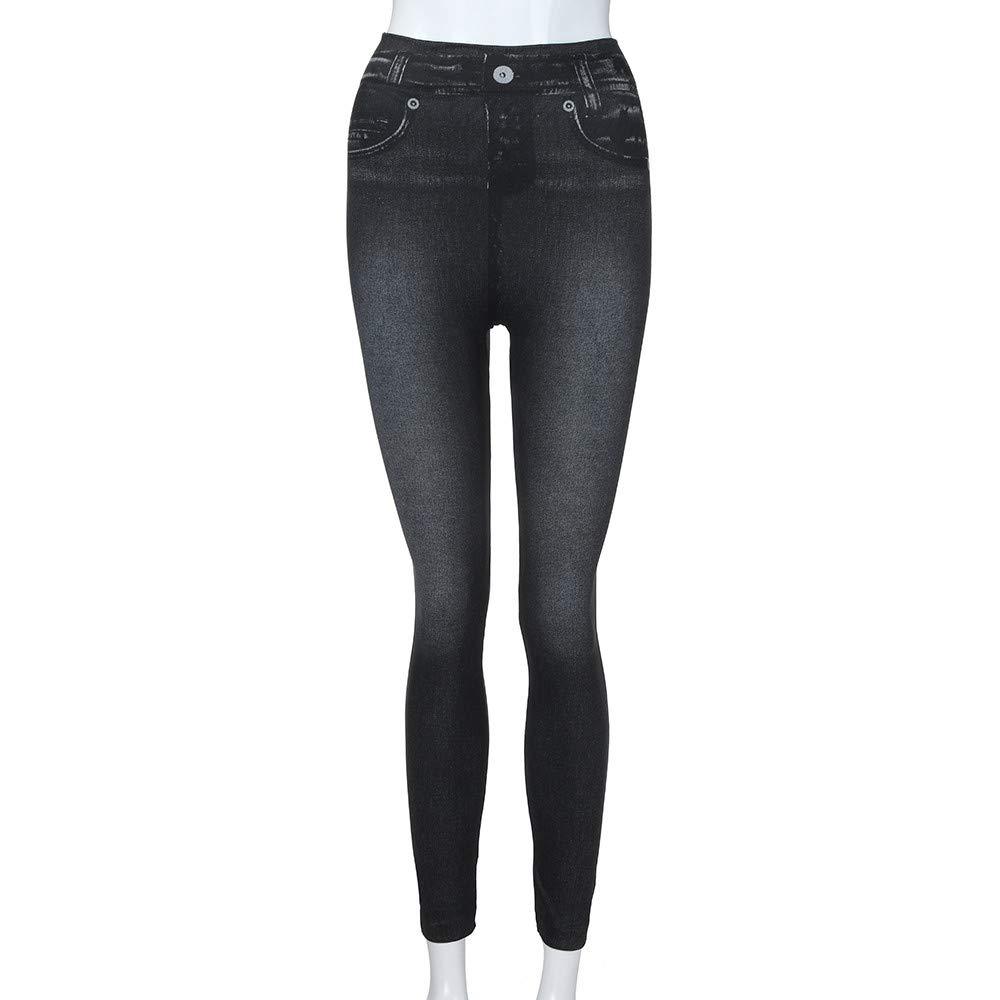 Printed Yoga Leggings for Women,Women Denim Pants Pocket Slim Leggings Fitness Plus Size Leggins Length Jeans,Black,2XL
