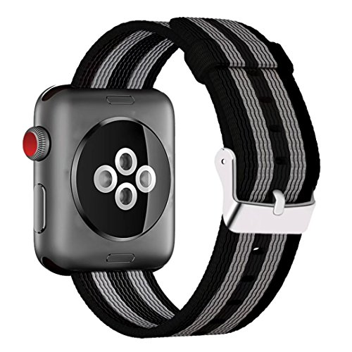 INTENY Newest Woven Nylon Fabric Wrist Strap Replacement Band with Classic Square Stainless Steel Buckle Compatible for Apple iWatch Series 1/2/3,Sport & Edition,38mm,Black Gray Stripes