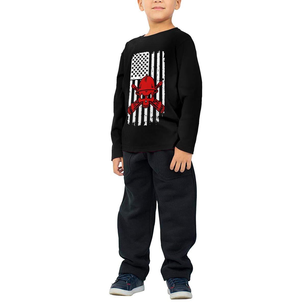 COTDREN Pipefitters American Flag Boys Cotton Long Sleeve Tshirt