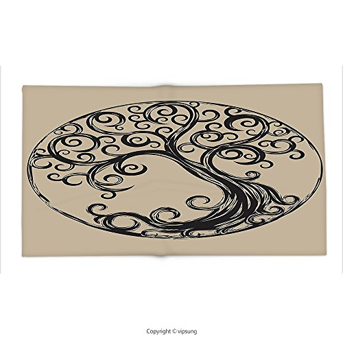 Custom printed Throw Blanket with Tree of Life Decor Collection tree silhouette pattern in Cycle shape vintage style curvy twigs illustration Super soft and Cozy Fleece (Halloween Tree Silhouette Pattern)