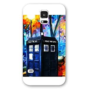 UniqueBox - Customized White Frosted Samsung Galaxy S5 Case, Doctor Who Tardis Blue Police Call Box Samsung S5 case, Only fit Samsung Galaxy S5