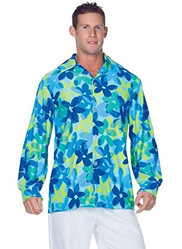 Underwraps Men's Plus-Size 60's Flowers Shirt, Blue/Green, - Costume Ideas Hippie Halloween