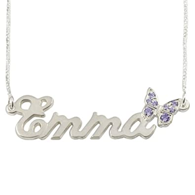 276a024b9 Amazon.com: Personalized Name Necklace in Sterling Silver -Sparkling  Swarovski Butterfly Name Necklace - Custom Made Any Name: Pendant Necklaces:  Jewelry