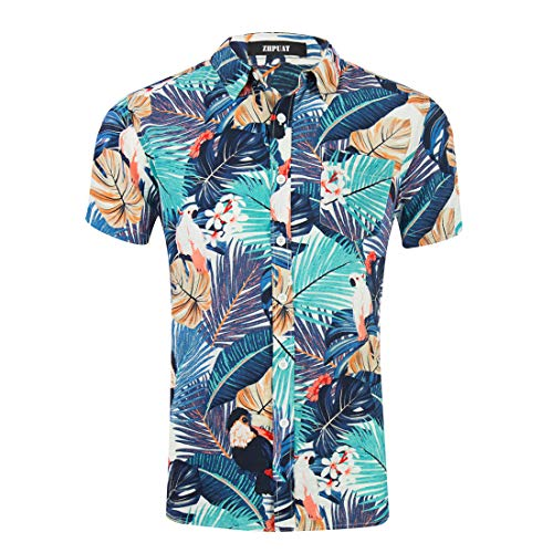 ZHPUAT Men's Hawaiian Shirt Short Sleeve Beach Party Flower Button Down Shirts-GD024-6-L ()