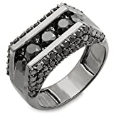 4.00 Carat (ctw) 14k Gold Round Black Rhodium Plated 5 Stone Diamond Mens Hip Hop Pinky Ring (Size 10)