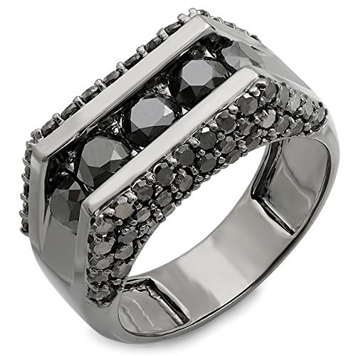 3.60 Carat (ctw) 14K Gold Black Rhodium Plated 5 Stone Black Diamond Mens Hip Hop Ring (Size 10) by DazzlingRock Collection