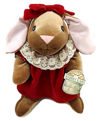 "The Velveteen Rabbit Red Velvet Dress w Lace Trim Toys R Us 1985 Rabbit Ears Holiday Plush 14"" from Toys R Us"