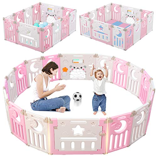 Baby Playpen, Dripex Foldable Kids Activity Centre Safety Play Yard Home Indoor Outdoor Baby Fence Play Pen with Gate for Baby Boys Girls Toddlers (Pink + White)