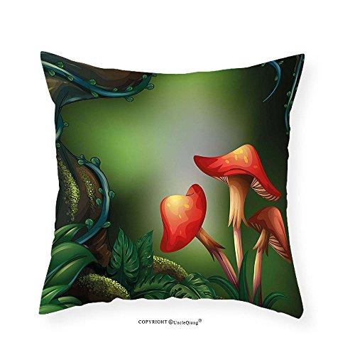 VROSELV Custom Cotton Linen Pillowcase Mushroom Big Tree in Rain Forest Ivy Fungi Leaves Moss Roots Fern Jungle Illustration for Bedroom Living Room Dorm Green Red Brown 22