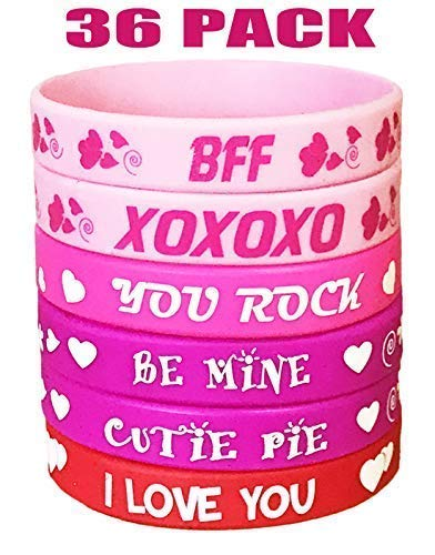 - AISENO Valentine's Day Heart Bracelets Rubber Wristbands Party Favors Supplies Gifts Party Decorations - 36Pieces