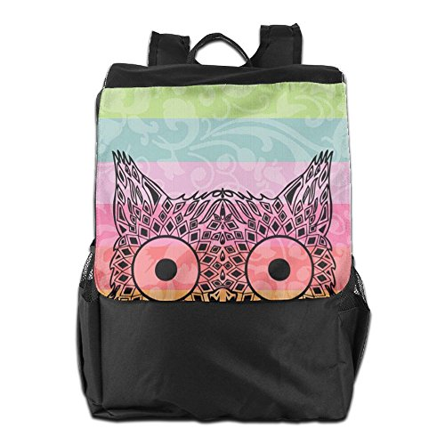 HSVCUY Personalized Outdoors Backpack,Travel/Camping/School-Colorful Owl Adjustable Shoulder Strap Storage Dayback For Women And Men
