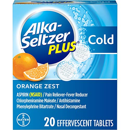 Alka-Seltzer Plus Cold Medicine, Orange Zest Effervescent Tablets with Pain Reliever/Fever Reducer, Cold Relief Medicine Orange Zest, 20 Count