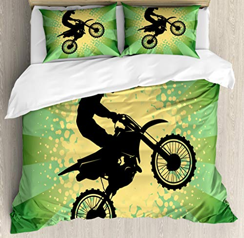 Lunarable Dirt Bike Duvet Cover Set Queen Size, Starburst Stripes and Halftone Style Dots Background Rider, Decorative 3 Piece Bedding Set with 2 Pillow Shams, Pale Green Black Pale Yellow