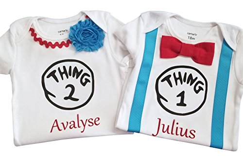 Luke and Lulu Birthday Thing 1 Thing 2 Onesies Personalized White-red-Blue