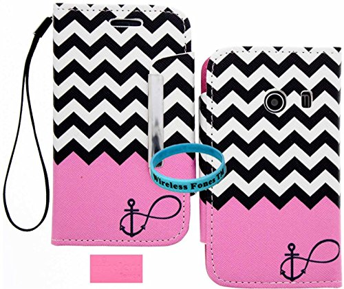Wireless Fones TM Pink Color Block Chevron Anchor Infinity Wallet Flip Hard Case Cover for Samsung Galaxy Ace Style / SM-G310 / S765C for Net 10 Straight Talk - Galaxy Flip Samsung Ace Cover