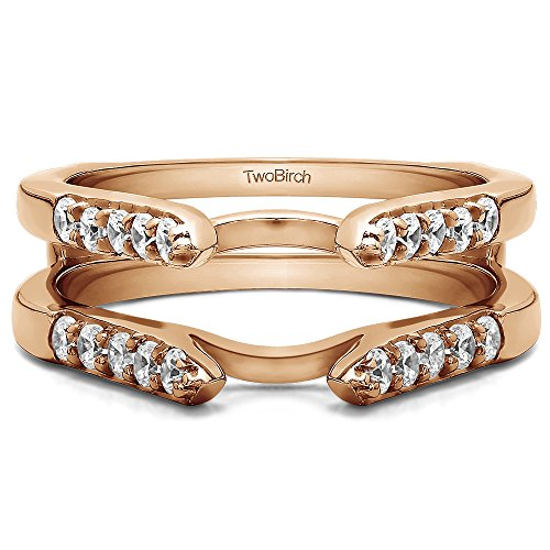 1/2 ct. Diamonds (G-H,I2-I3) Cathedral Style Round Stone Ring Guard in 10k Rose Gold (0.5 ct. twt.) by TwoBirch