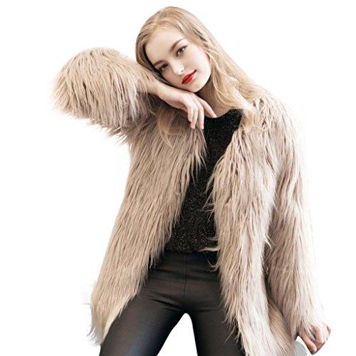 Invierno de Abrigo Mujer Mujer Sintética KaloryWee Cálida para Parka Piel para Caqui de Fox Abrigo qFfwvxp