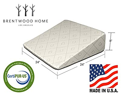 Brentwood Home Gel Infused Memory Foam Therapeutic Foam Bed Wedge Sleep Pillow - 100% Made in USA - CertiPUR-US - Washable Organic Cotton Cover