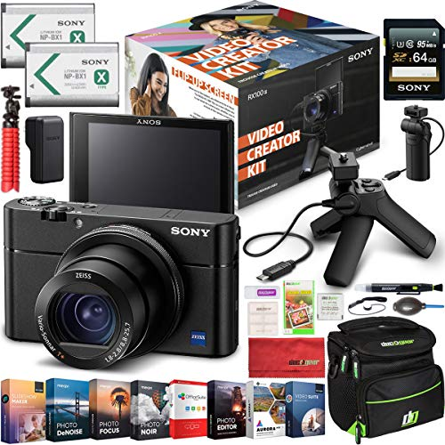 Sony Cyber-Shot RX100M3 Video Creator Kit Enhanced Bundle with Shooting Grip Tripod VCT-SGR1, 64GB Card & Extra Battery DSC-RX100M3KIT + Deco Gear Travel Case Accessory Set & Photo Video Software from Sony