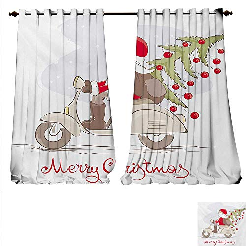 (familytaste Decor Curtains by Vintage Print Santa on Motorbike with Ornamental Xmas Tree in Snow Print Patterned Drape for Glass Door W96 x L108 White Gray)
