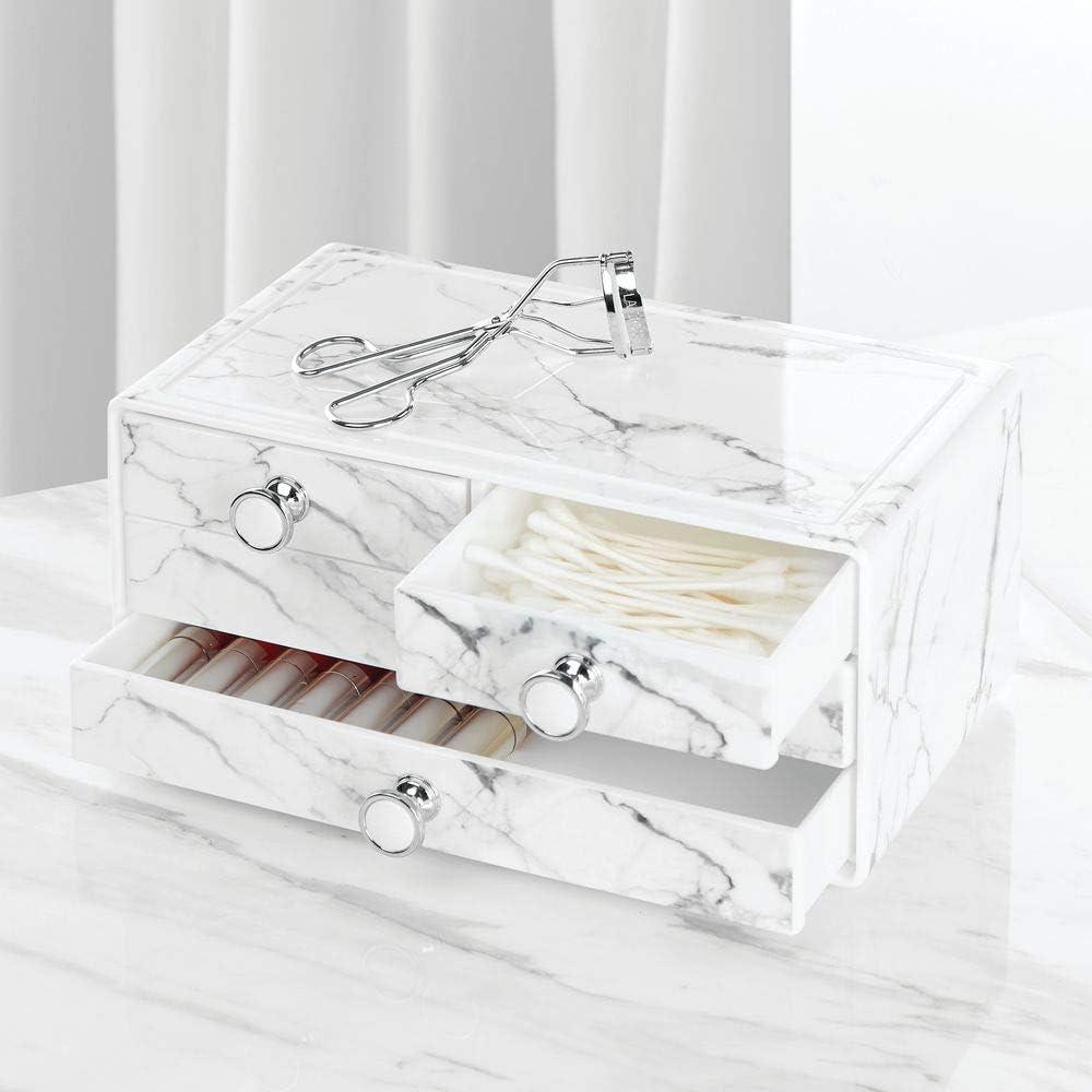 wei/ß und grau Kosmetik Organizer mit Knauf und Marmormuster mDesign stapelbare Schminkaufbewahrung f/ür Wasch- oder Schminktische Aufbewahrungsbox mit 4 Schubladen aus Kunststoff f/ür Make-up