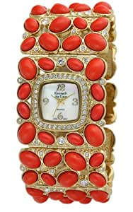 Kenneth Jay Lane Women's KJ4406-CO Swarovski  Crystal Accented Gold-Tone Coral Cabochon Link Watch
