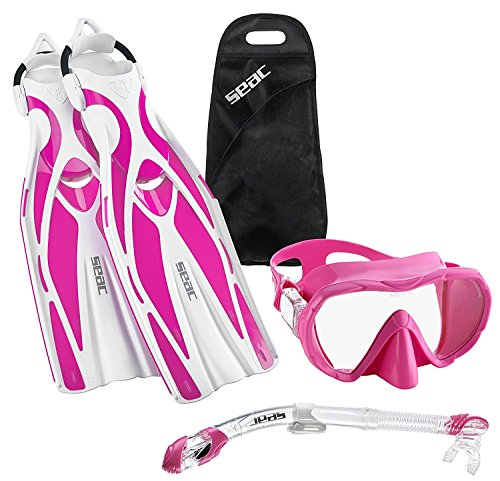 SEAC Frameless Scuba Mask Fin Snorkel Set, Pink, Medium/Large