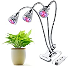 LED Grow Lights for Indoor Plants, Three-Head 15W Clip Desk Grow Lamp with 360 Degree Flexible Gooseneck and Three Separate Control Switches for Office, Home, Indoor Garden Greenhouse etc