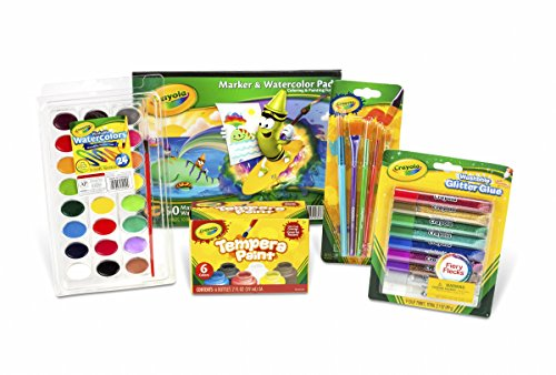 크래욜라 Crayola Arts & Crafts Paint Kit, featuring Glitter Glue, Washable Watercolors, Washable Kids Paint