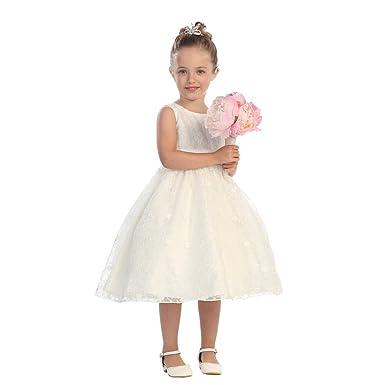 99dbc618337 Amazon.com  Big Girls Ivory Embroidered Lace Beaded Stylish Flower ...