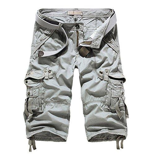 Capri Pants New Mens - SHIDBA Men's Casual Solid Multi Pockets Cargo Shorts New Fashion Capri Pants Slim Fit (34, Lime)