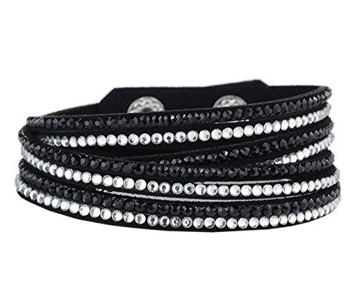 - Women's Stone Stud Faux Leather Strand Snap Wrap Bracelet, Black