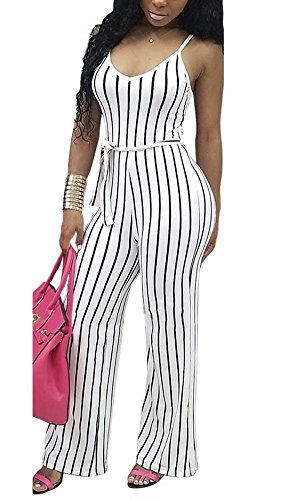 Deloreva Women Striped Romper and Jumpsuit - Summer Long Wide Leg Pants Spaghetti Strap Playsuit Overalls White L by Deloreva