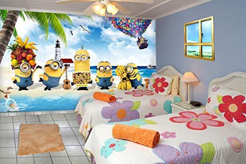 999store 3D Minions Enjoying at sea Beach Kids roomwallpaper  Non Woven_12x8 Feet_Blue