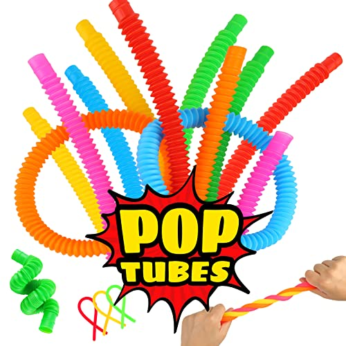 3 otters Pop Tube Toys, 18 PCS Pop Tubes Sensory Toys Tubes Fidget Toys Stretchy String Great as Gift, Halloween Party Favors, and Prizes