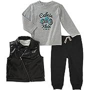 Calvin Klein Baby Boys' 3 Pc Vest Set, White/Grey/Navy, 3-6 Months