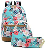 Teens Backpacks for Girls Bookbags Floral Canvas Schoolbag with Lunch Tote Bag Kids Elementary Turquoise