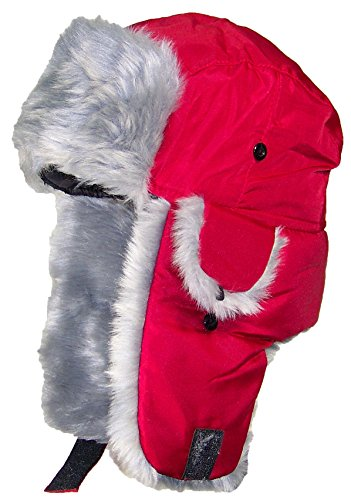 Best Winter Hats Adult Nylon Russian/Trapper W/Soft Faux Fur Beanie - Dark Red (XL/XXL) ()