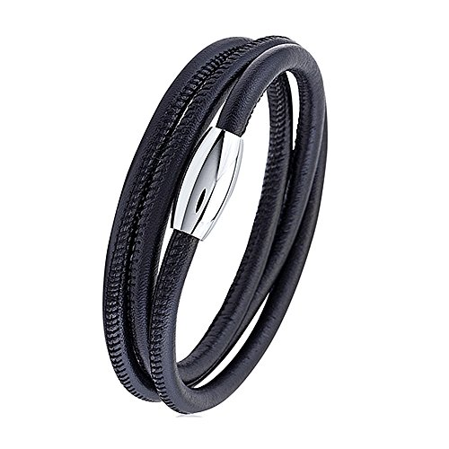 Silver Triple Wrap - Silver and Post Men's Black Nappa Leather Triple Wrap Stitched Bracelet, Gift Box Included