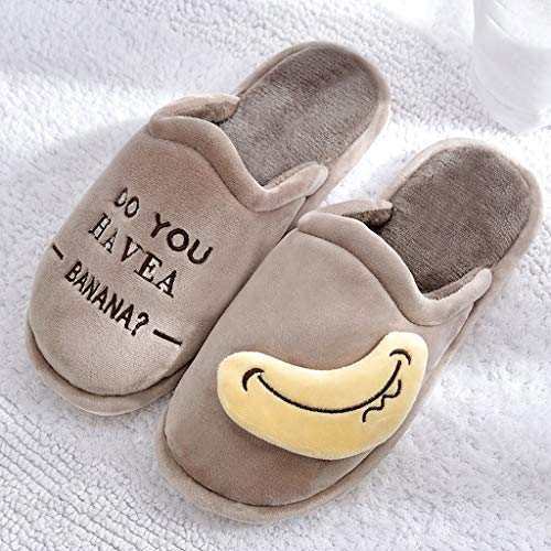 Hause Gray Baumwolle Farbe Male Cartoon Paar Dick Mopp Winter Slippers 41EU Soled Winter 40 größe Cotton AMINSHAP Brown Cute Indoor wY67EZZq