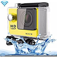 Professional Product Easy to Use Sport Action Camera Professional Portable 2.0 inch Screen 140 Degrees Wide Angle Lens Support WiFi Function, Water Resistant Depth: 30M ( Color : Yellow )