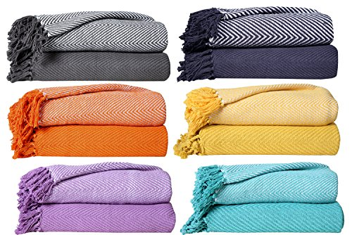 Find Discount 100% Cotton Throw Blanket- PACK OF 2 - Chevron Throws Blankets For Sofa & Couch - Supe...