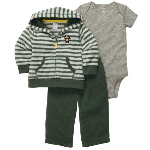 Carter's Baby Boys 3-Piece Micro Fleece Hooded Cardigan Pant Set Stripe Monkey 24MO