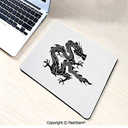 - Non-Slip Rubber Mouse Pads Cultural Zodiac Icon Monochrome Graphic Style Eastern Dragon Claws Scales for Computers Laptop Office(W9.85xL11.8)