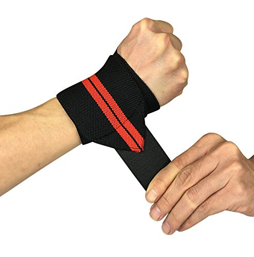 Fitness Wrist Wraps 23'' 1 Pair Wrist Wraps With 3'' Thumb Loops Support Braces for Bodybuilding, Weight Lifting, Strength Traning (red)