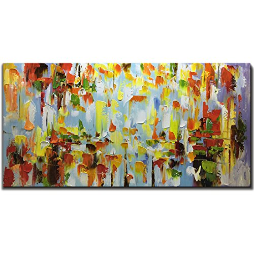 Metuu Modern Canvas Paintings, Texture Palette Knife Paintings Modern Home Decor Wall Art Painting Colorful Wood Inside Framed Ready to hang ()