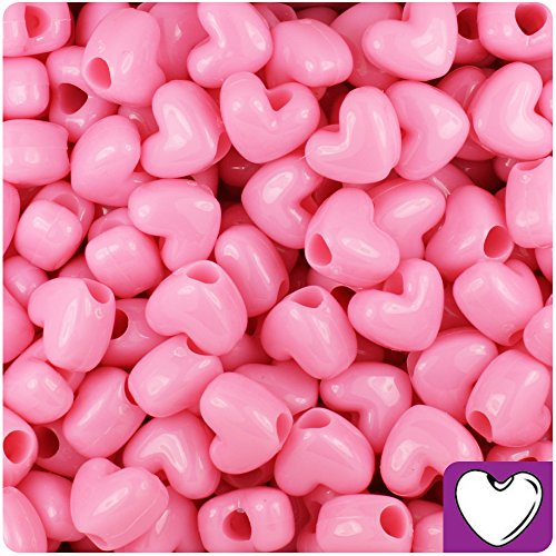 BEADTIN Baby Pink Opaque 12mm Heart Pony Beads (250pc) Pink Heart Bead