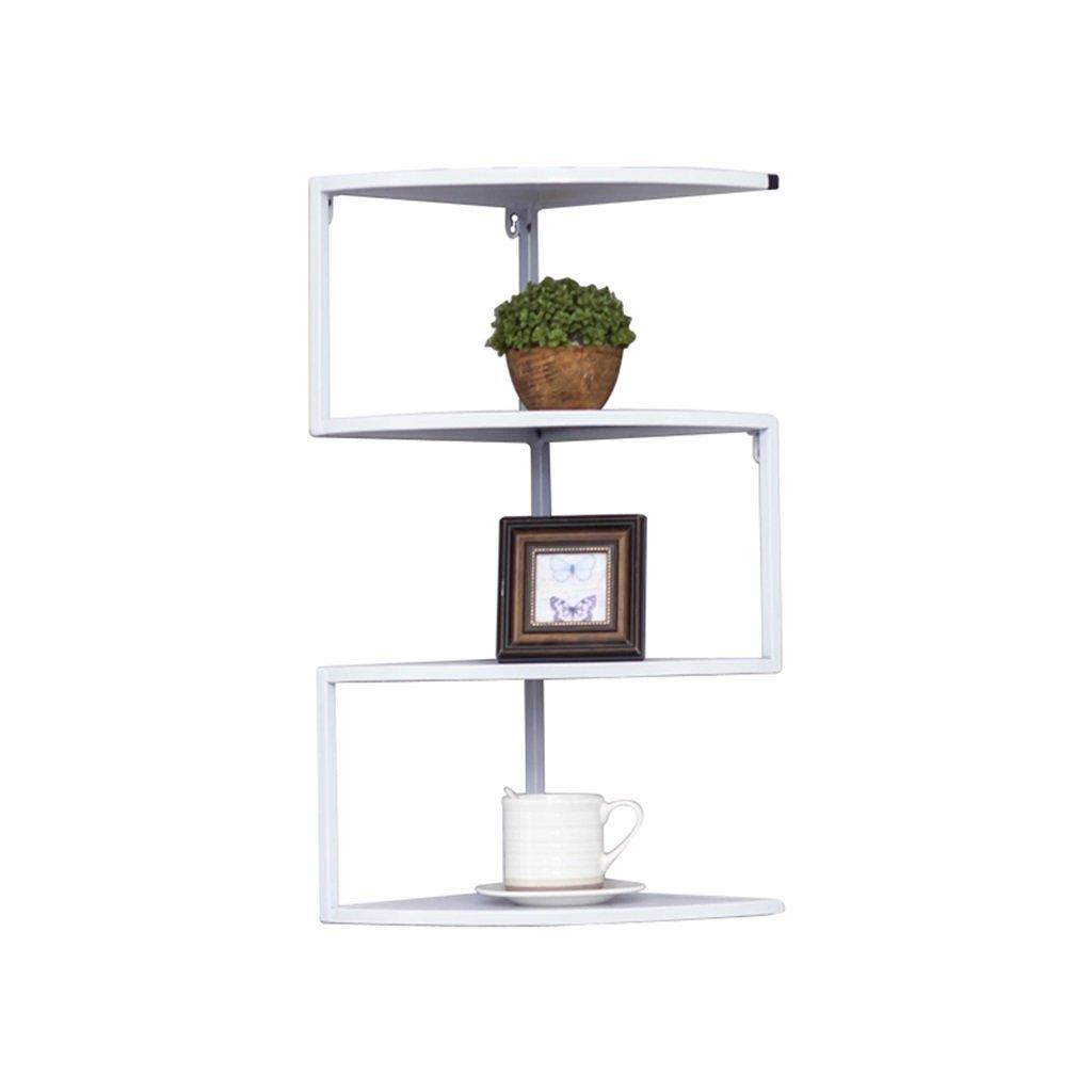 リビングルームベッドルームキッチンの棚 現代の壁の棚の本棚の鉄の金属材料の寝室の家の装飾のデザインディスプレイフロートパーティションストレージラックユニットフレーム、3/4/5ティア デコレーションラックYYJRR-Corner Shelves ( 色 : 白 , サイズ さいず : 4 tier ) B077W52WFQ 10508 4 tier|白 白 4 tier
