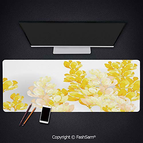 (Personalized Large Mouse Pad Watercolor Art Style Blossoming Wild Flowers Spring Meadow Botany Nature Decorative Keyboard Pad for Office Desktop(W35.4xL15.7))